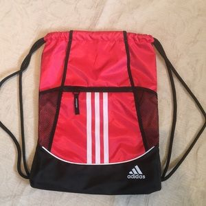 New! Adidas Alliance Drawstring Backpack Red/Black